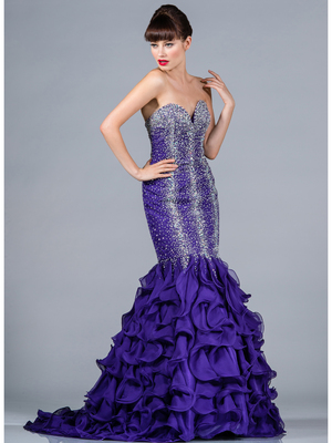 C7578 Beaded and Jeweled Mermaid Prom Dress, Purple