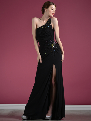 C7642 One Shoulder Black Asymmetrical Prom Dress, Black