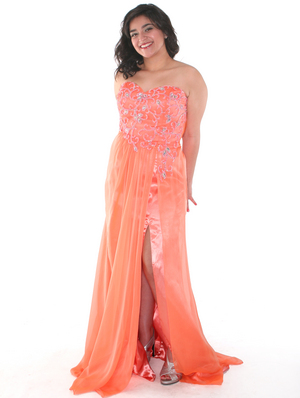 C7645 Strapless Floral Beaded Prom Dress, Orange