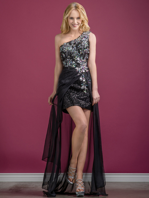 C7650 Bead and Sequin Chiffon-Wrapped Prom Dress, Black