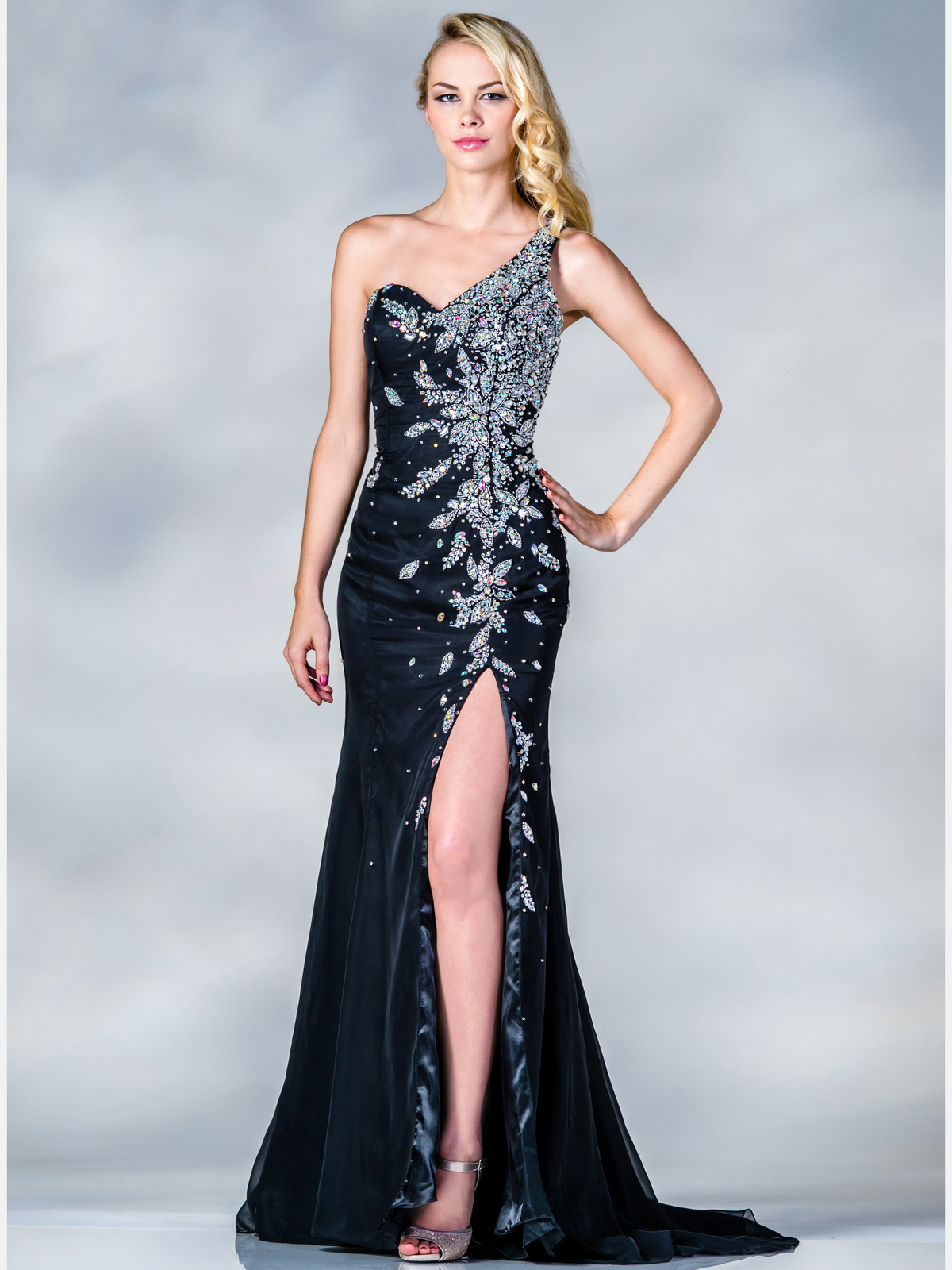 Floral Beaded One Shoulder Prom Dress | Sung Boutique L.A.One Shoulder Black Prom Dresses