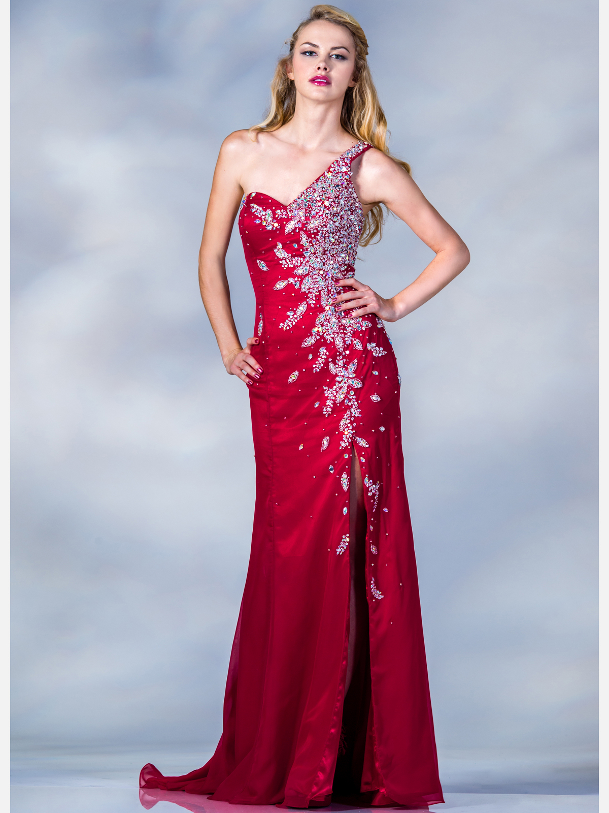 Red one shoulder prom dresses cheap