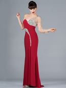 One Sleeve Fitted Evening Dress