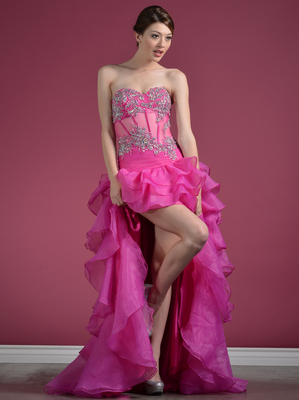C7659 Sheer Floral Corset High Low Prom Dress, Fuschia