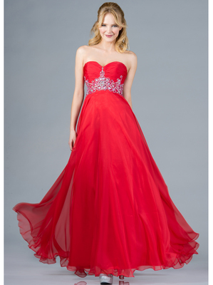 C7664 Beaded and Jeweled Prom Dress, Watermelon
