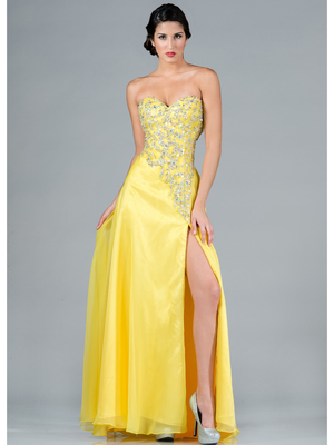 C7666 Beaded Bodice Prom Dress, Yellow