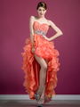 C7679 Layered High Low Prom Dress - Coral, Front View Thumbnail