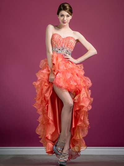 C7679 Layered High Low Prom Dress - Coral, Front View Medium