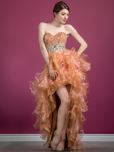 C7679 Layered High Low Prom Dress - Gold, Front View Medium