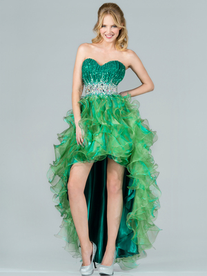 C7679 Layered High Low Prom Dress, Green