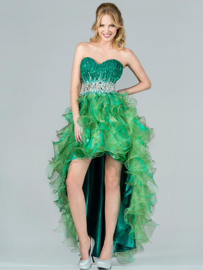 C7679 Layered High Low Prom Dress - Green, Front View Medium