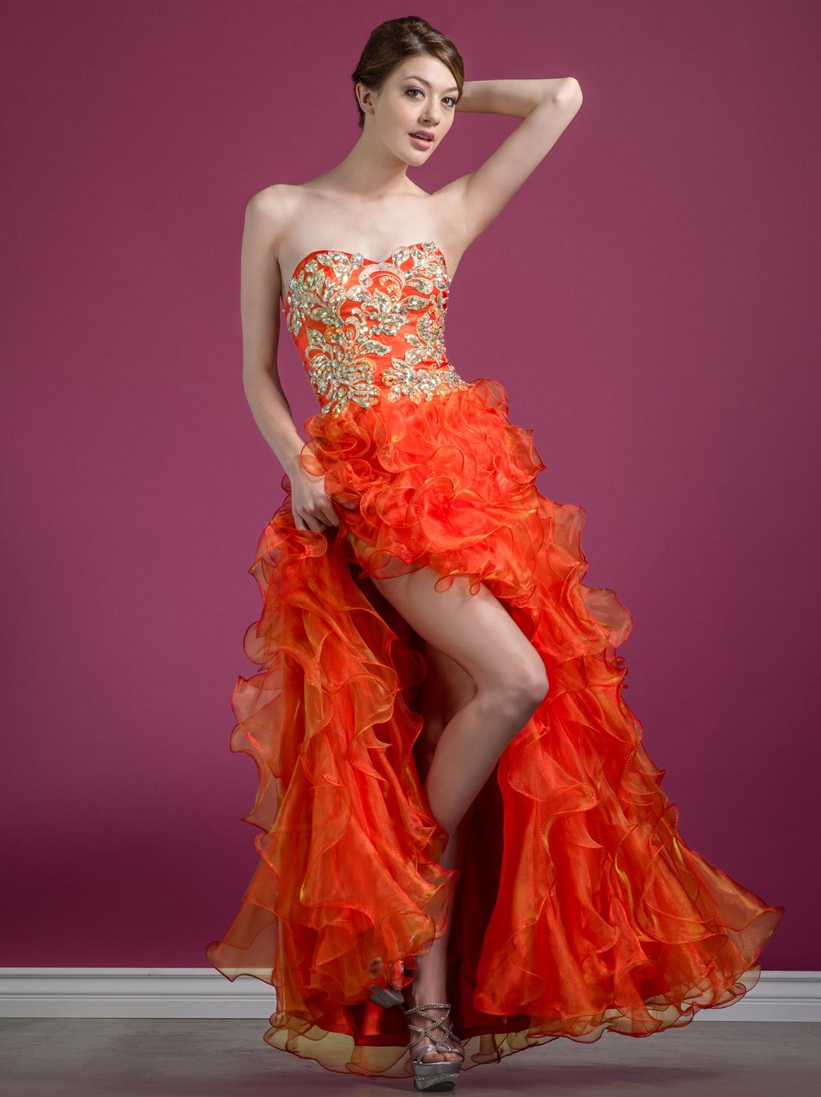 9c46c4fda34 C7680 Jeweled Embroider High Low Prom Dress - Orange