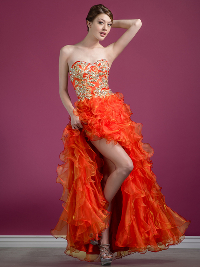 C7680 Jeweled Embroider High Low Prom Dress - Orange, Front View Medium
