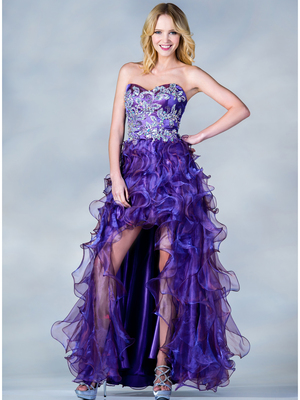C7680 Jeweled Embroider High Low Prom Dress, Purple
