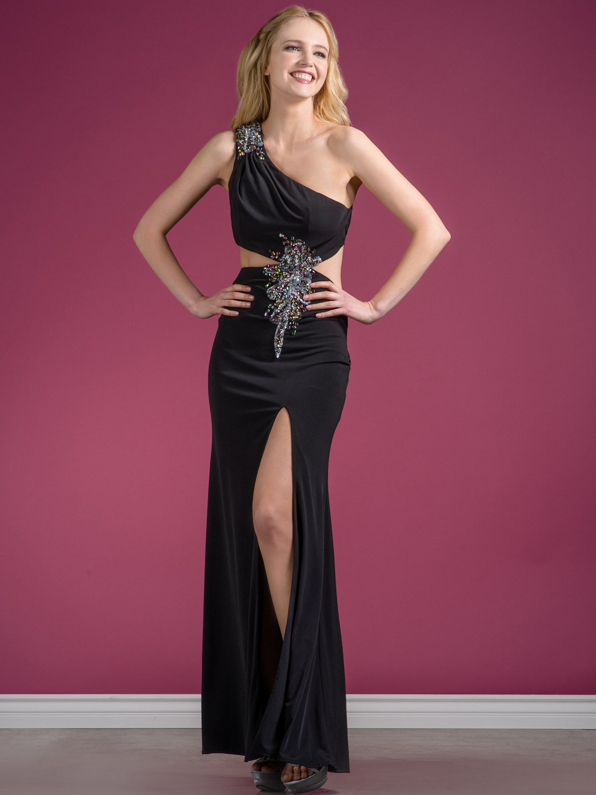 One Shoulder Cut Out Evening Dress with Slit | Sung Boutique L.A.