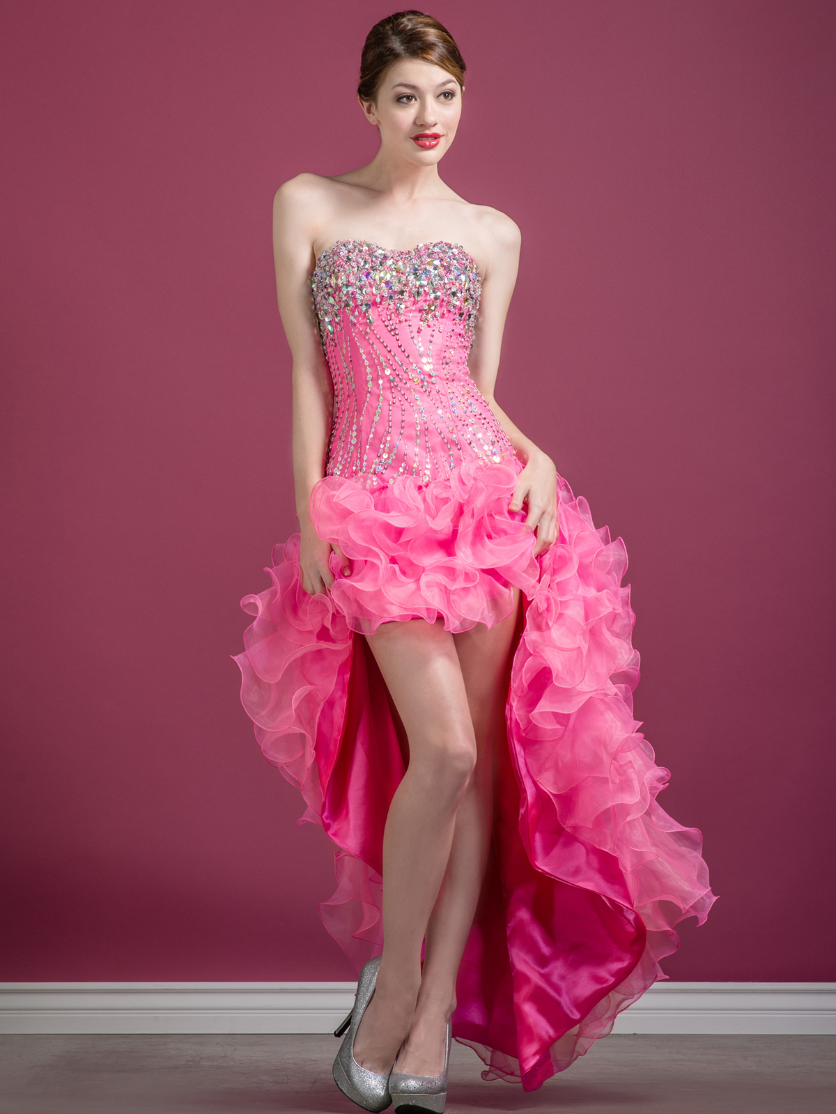Sequin and Bead High Low Prom Dress | Sung Boutique L.A.