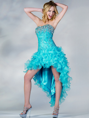 C7693 Sequin and Bead High Low Prom Dress, Turquoise