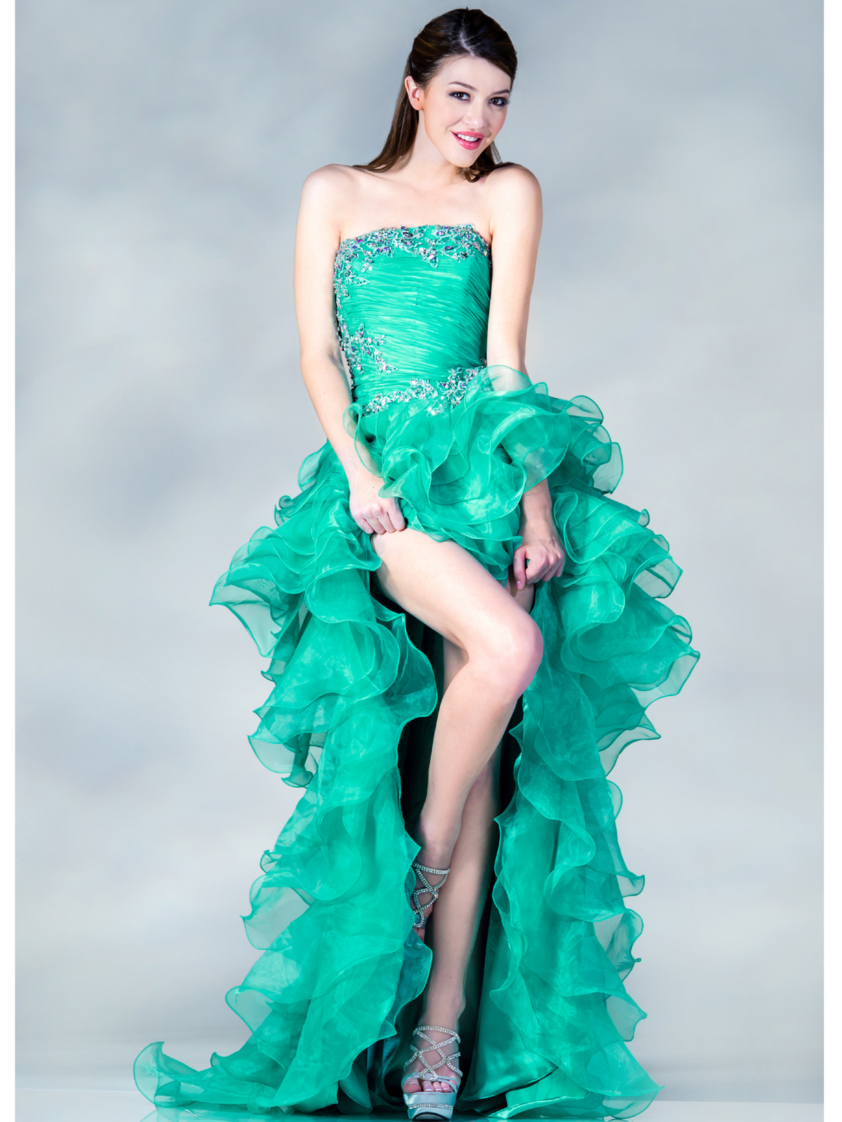 Jade High Low Embroider Prom Dress | Sung Boutique L.A.
