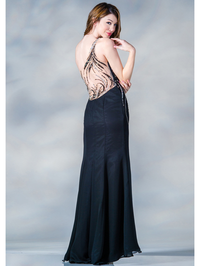 C7697 One Shoulder Sequin Design Evening Dress - Black, Back View Medium
