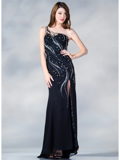C7697 One Shoulder Sequin Design Evening Dress - Black, Front View Medium
