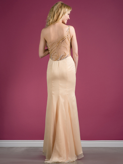 C7697 One Shoulder Sequin Design Evening Dress - Champagne, Back View Medium