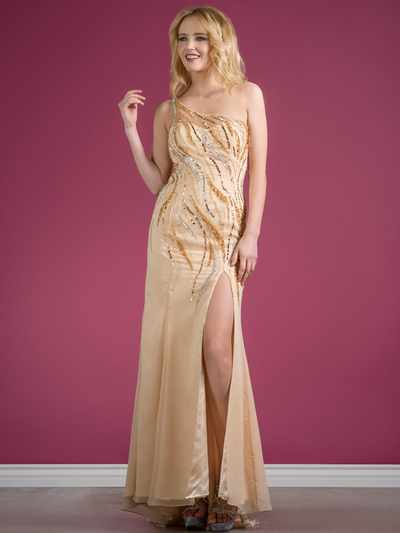 C7697 One Shoulder Sequin Design Evening Dress - Champagne, Front View Medium