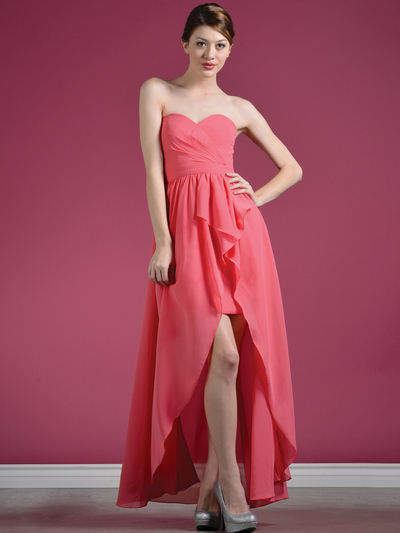 C7751B Sweetheart High-Low Cocktail Dress - Coral, Front View Medium