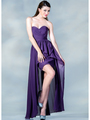 C7751B Sweetheart High-Low Cocktail Dress - Eggplant, Front View Thumbnail