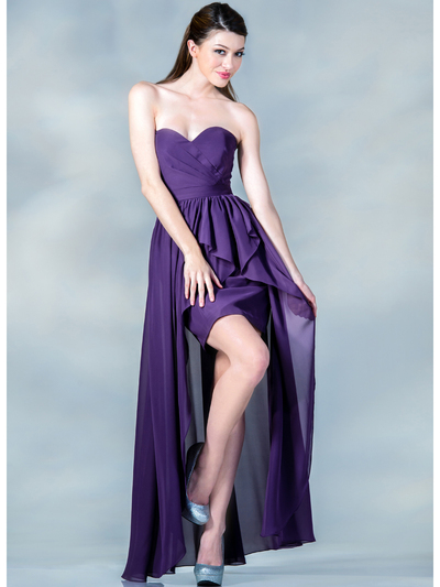 C7751B Sweetheart High-Low Cocktail Dress - Eggplant, Front View Medium