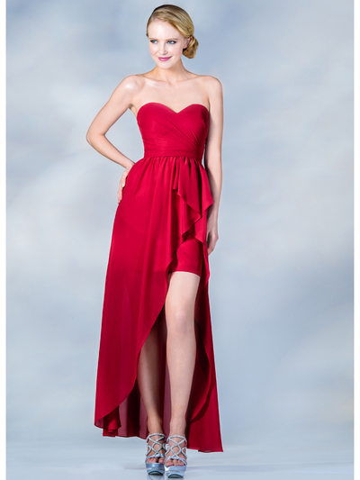 C7751B Sweetheart High-Low Cocktail Dress - Red, Front View Medium