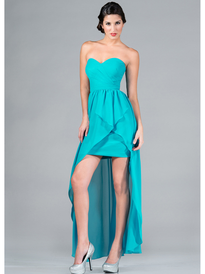 C7751B Sweetheart High-Low Cocktail Dress - Turquoise, Front View Medium