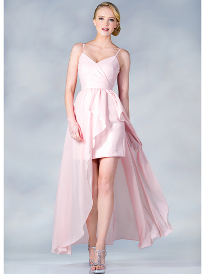 C7751 V-Neckline High Low Dress - Baby Pink, Front View Medium