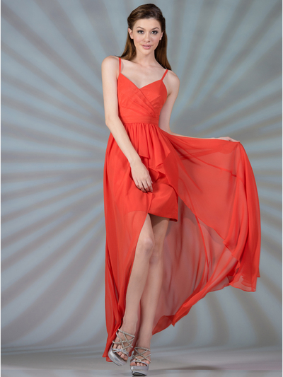 C7751 V-Neckline High Low Dress - Coral, Front View Medium