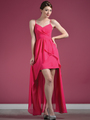 C7751 V-Neckline High Low Dress - Fuschia, Front View Thumbnail