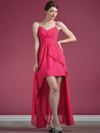 C7751 V-Neckline High Low Dress - Fuschia, Front View Medium