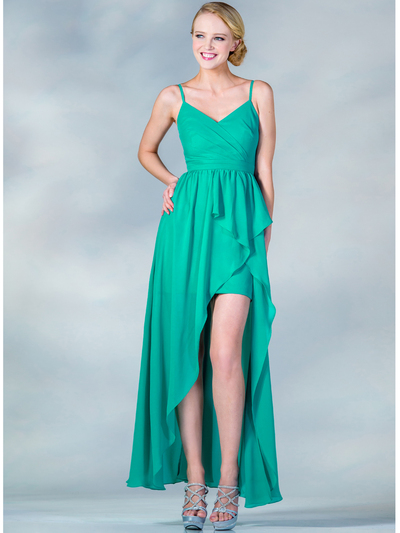 C7751 V-Neckline High Low Dress - Jade, Front View Medium