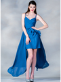 C7751 V-Neckline High Low Dress - Royal, Front View Thumbnail