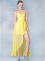 C7751 V-Neckline High Low Dress - Yellow, Front View Thumbnail
