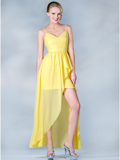 C7751 V-Neckline High Low Dress - Yellow, Front View Medium
