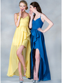 C7751 V-Neckline High Low Dress - Yellow, Alt View Thumbnail