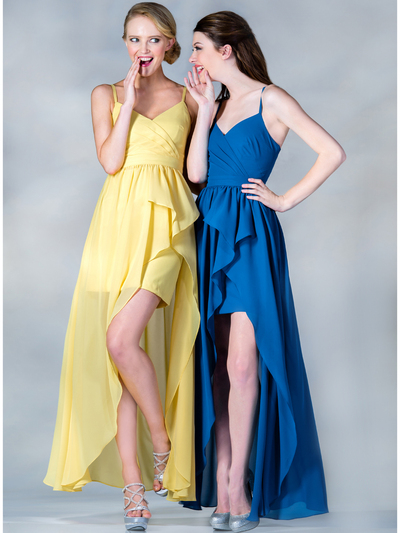C7751 V-Neckline High Low Dress - Yellow, Alt View Medium
