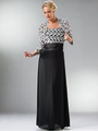 C7773 Black MOB Evening Dress with Lace Bolero - Black, Front View Thumbnail