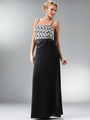 C7773 Black MOB Evening Dress with Lace Bolero - Black, Back View Thumbnail