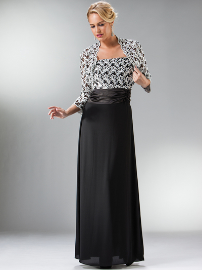 C7773 Black MOB Evening Dress with Lace Bolero - Black, Front View Medium