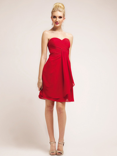 C7775 Chiffon Cocktail Dress - Red, Front View Medium