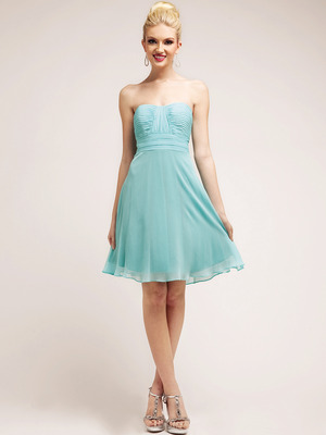 C7778 Pleated Bodice Chiffon Cocktail Dress, Mint