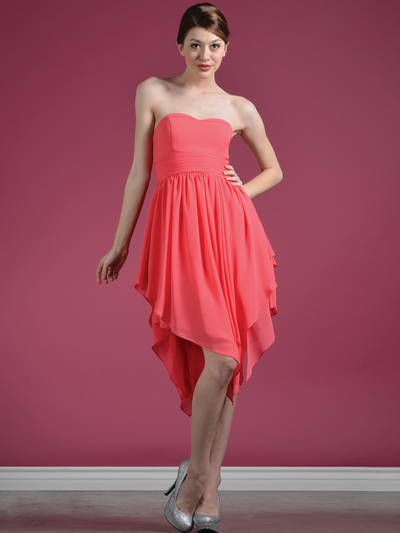 C7789 Layered Cocktail Dresses - Coral, Front View Medium