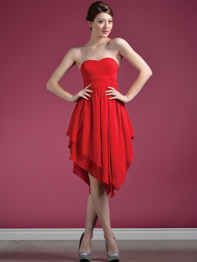 C7789 Layered Cocktail Dresses - Red, Front View Medium