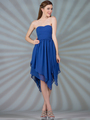 C7789 Layered Cocktail Dresses - Royal Blue, Front View Thumbnail