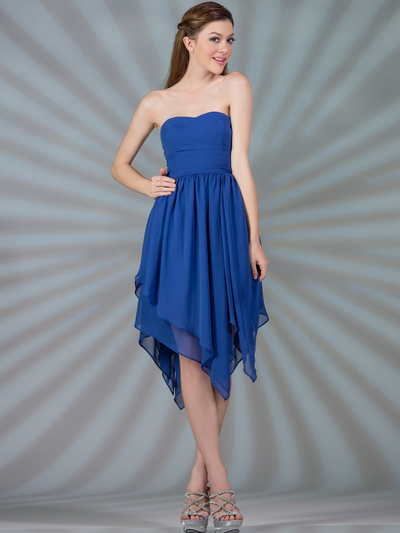 C7789 Layered Cocktail Dresses - Royal Blue, Front View Medium